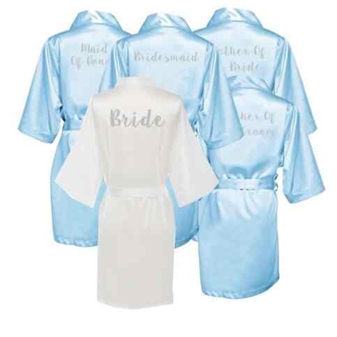 Светло-голубой халат Золотое пишущее кимоно свадебные вечерние платья Подружка невесты, сестра мать Жених Невеста халаты Свадьба лучший подарок