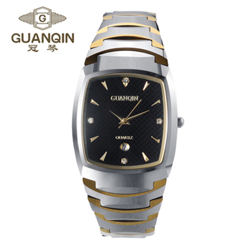 ФОТО GUANQIN Original Luxury Brand Quartz Watch Square Luxury Waterproof Men Wristwatches Male Steel Watches Relogio Masculino Reloj