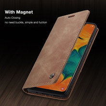Magnetic Wallet Case For Samsung Galaxy A50 A70 A80 A40 A30 A20 S7 S8 S9 S10E S10 Plus Phone Case Retro Leather Card Flip Cover(China)