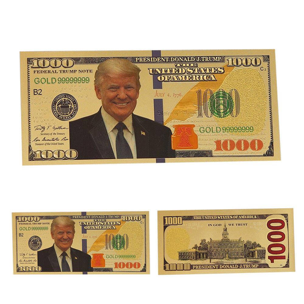 1pcs President Donald Trump New Colorized $1000 Dollar Bill Gold Foil Banknote