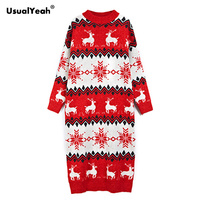 UsualYeah Pullover Elk Pattern Winter Long Sleeve Sweater For Women One Size Mid Length Christmas Long Sweaters Red Khaki