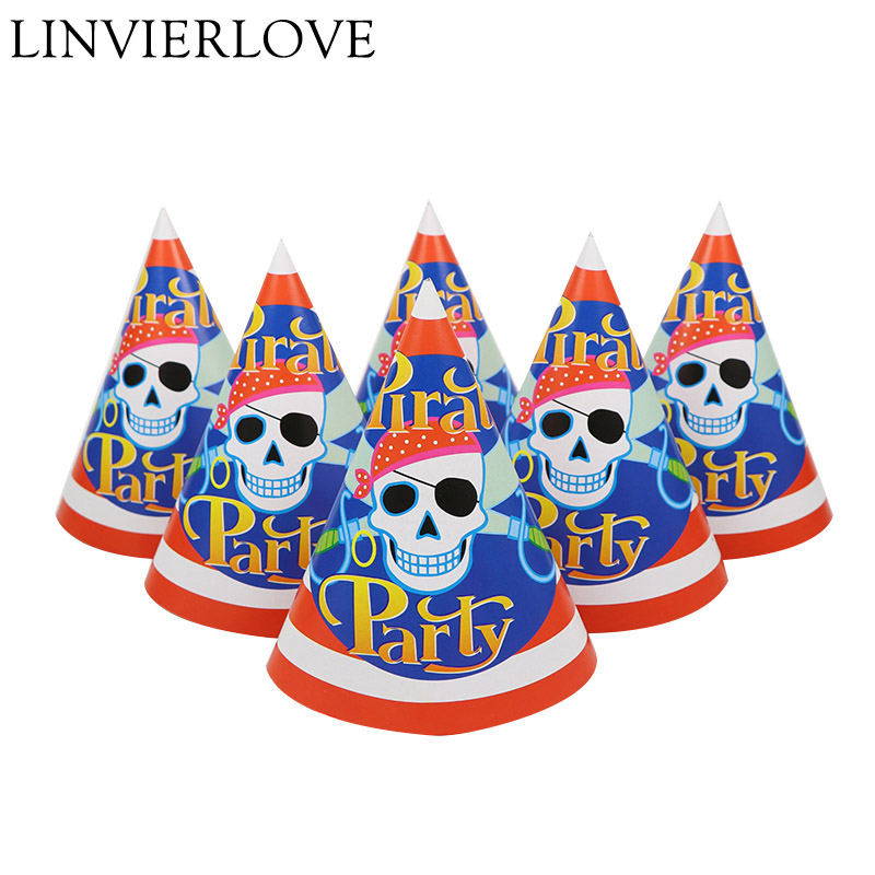 6pcs/set Red Pirate Party Theme Paper Party Hats Caps For Kids Boys Girls Happy Birthday Baby Shower Party Decoration Supplies