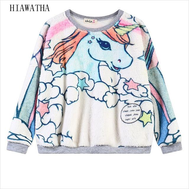 Hiawatha Unicorn Animal Impresso Hoodies Das Mulheres da Longo-luva Bordada com Capuz Do Punk O-pescoço Camisolas Primavera Casual Wear WY0112