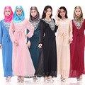 BooLawDee oriente médio mulheres lace chiffon muçulmano abaya vestido com caixilhos O pescoço regular completo manga tamanho livre multi color T22005