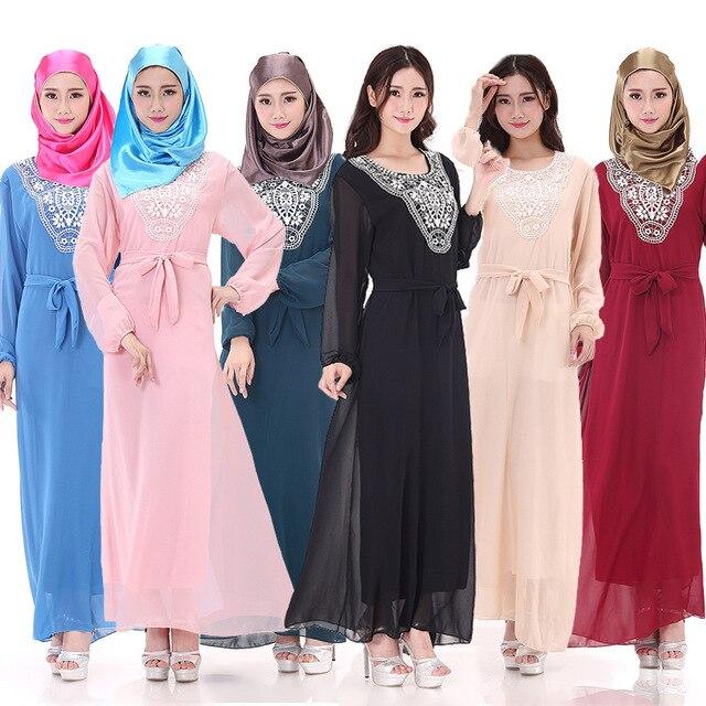 BooLawDee oriente medio mujer de encaje de gasa vestido de los musulmanes abaya con fajas del cuello de O manga llena libre del tamaño de varios colores T22005