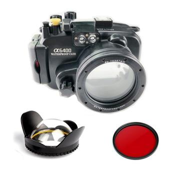 Meikon 40m/130ft Underwater Waterproof Camera Housing Case for Sony a6400 16-50mm Lens