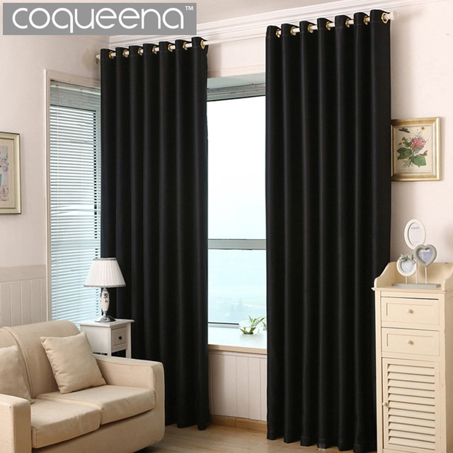 Thick Solid Polyester Modern Curtains For Living Room Bedroom Blackout  Curtains Cortinas Drapes Window Treatments Black