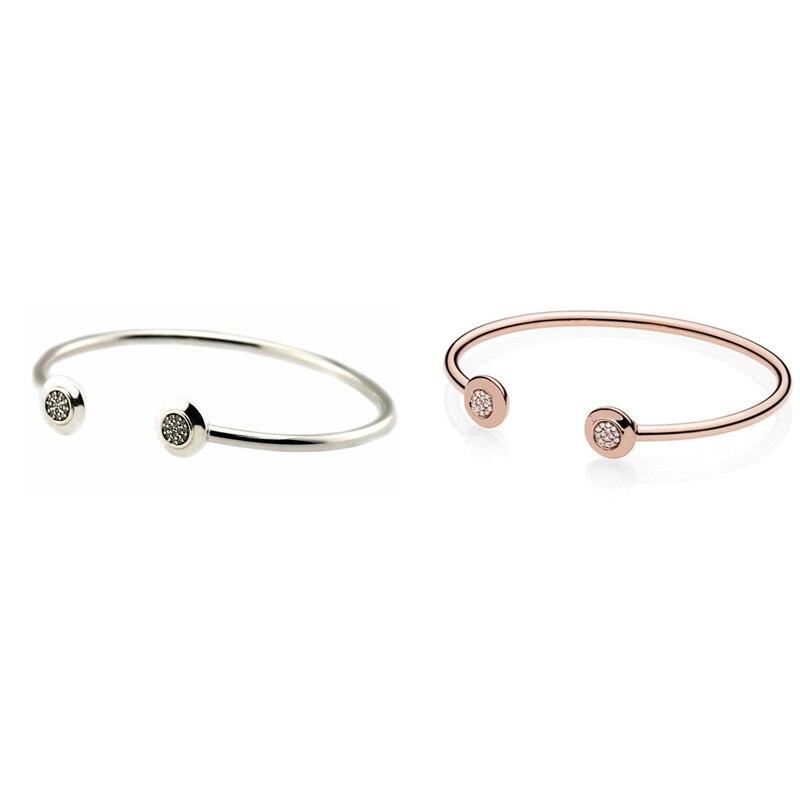 2 Colors Clear CZ Signature Open Bangles for Women & Men Fashion Sterling Silver Bracelets Jewelry Charms Bracelets & Bangles