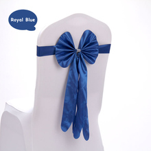 40pcs Red/Pink/Blue Multi Color Satin Leather Bow Tie Knot Chair Sash Band For Wedding Party Decoration Banquet Chair Back Decor