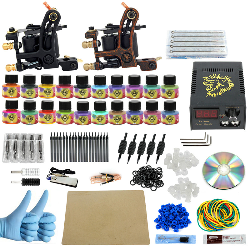 Complete profession Tattoo kits 10 wrap coils 2 guns machine 20 tattoo ink set power supply disposable needle Foot pedal complete tattoo kits pro gun machine power pedal 10 color ink sets power supply disposable needle grip tip quality new arrival