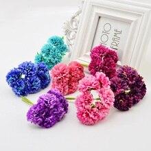 6 ピース人工花花嫁のブーケ結婚式の装飾 Diy 花輪ギフトボックスクラフト偽シルクカーネーション Handmake おしべ