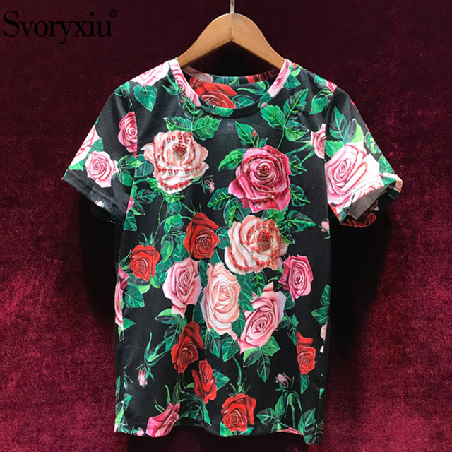 Svoryxiu Designer Summer Cotton Short Sleeve Tops Tees Women's Fashion Beading Rose Flower Print Casual T Shirts Female 2019