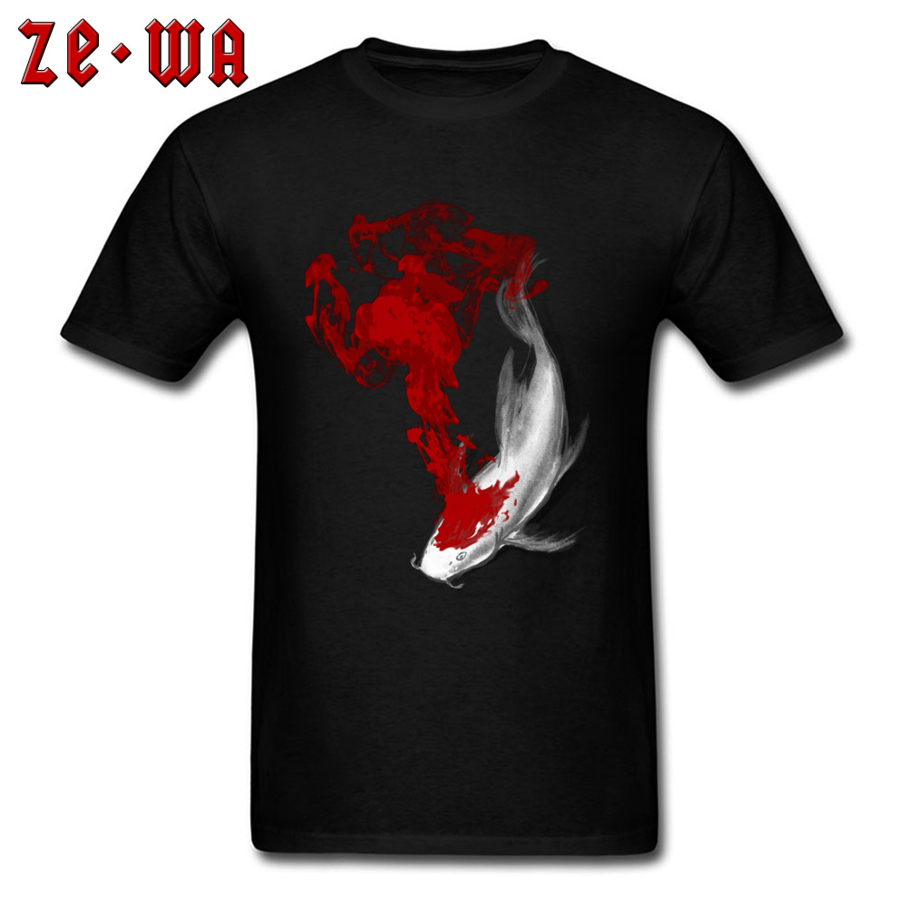 Chinese Style Tshirt Men Top T-shirts Coy Koi Design T Shirts 2018 Discount Male Clothes Lucky Fish Printed Tees Unique Shirt