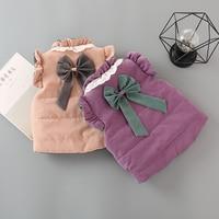 Kids baby girl clothes winter baby vest sleeveless baby girl bow coats 1 2years baby girl vest