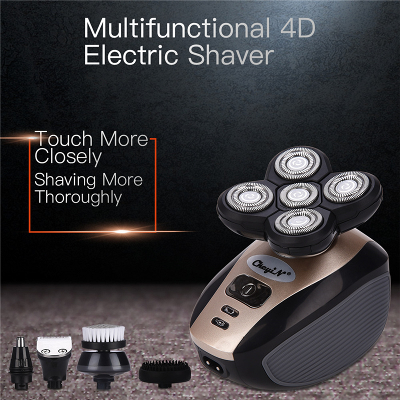 5in1 USB Rechargeable Shaver 4D Floating Blade Electric Razors Hair Clipper Nose Ear Hair Trimmer Men Facial Cleaning Brush P46