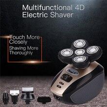 Afeitadora recargable por USB 5 en 1, cuchilla flotante 4D, maquinillas de afeitar eléctricas, cortadora de pelo de nariz, cortador de pelo de los oídos, cepillo de limpieza Facial para hombres P46