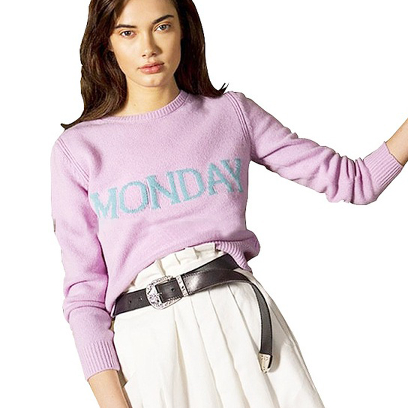 Fashion Runway Week Women Sweater Chic Knitting Jumper Monday Tuesday Wednesday Thursday Friday Saturday Sunday Pullover ...