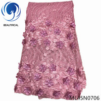 BEAUTIFICAL 3d flower lace fabric embroidery beads net tulle 3d lace african french fabric 5 yards ML45N07