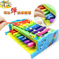 Candice guo wooden toy cartoon animal elephant bear wood multifunctional combo xylophone 2 in 1 baby small piano knock game 1pc