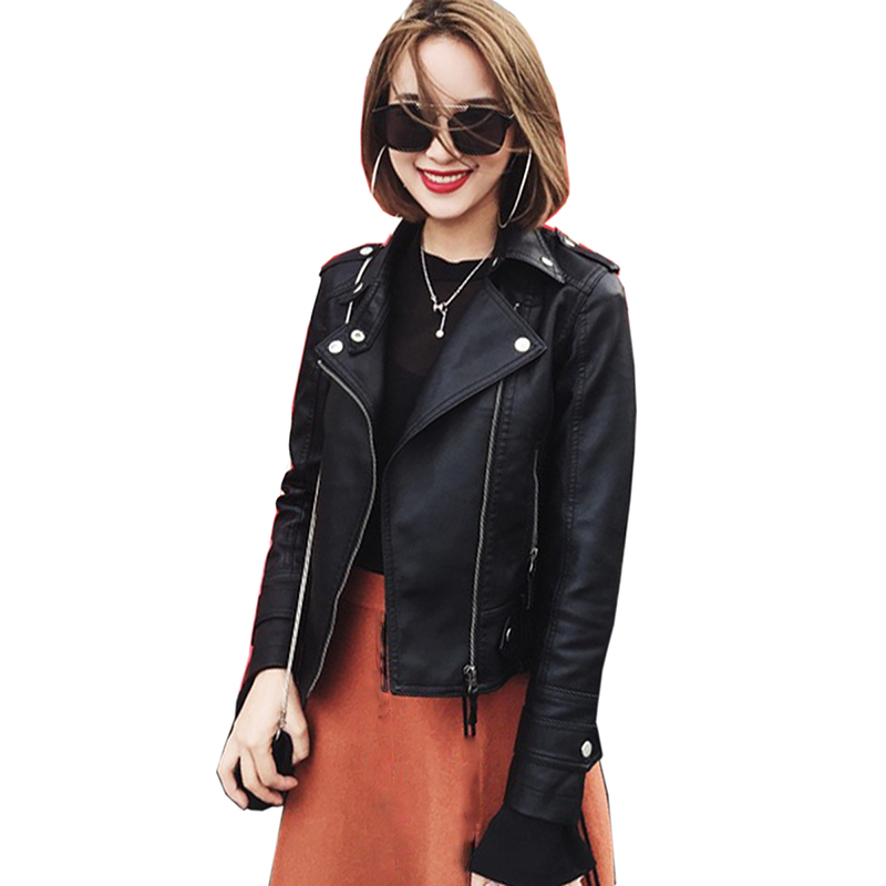 2018 New Fashion Women Spring and autumn Faux   Leather   Jackets Lady Bomber Motorcycle Cool Outerwear   Leather   Coat Women Hot Sale