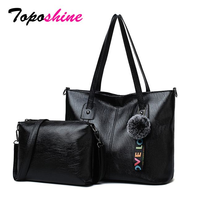 df8a70c25 Toposhine famosa marca bolsa de calidad PU cuero mujeres bolsos compuestos  señora elegante bolso moda Pompom