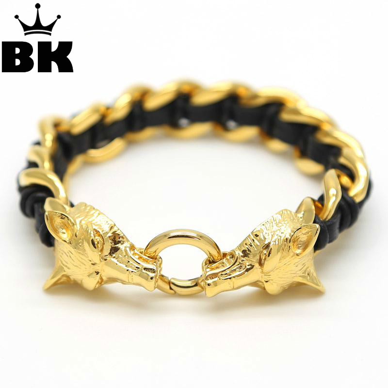 Fashion Hip Hop Jewelry 16mm Width Stainless Steel Gold Wolf Head Totem Black Braided Genuine Leather Bracelet For Men and Women fashion black and white wide twill pattern 6cm width tie for men
