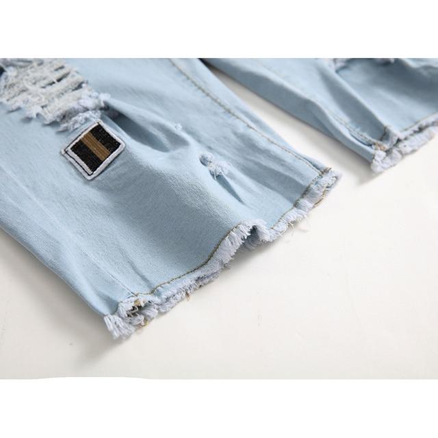 Blue Ripped Distressed Denim Short Jeans 10
