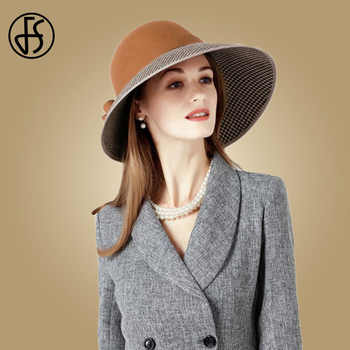 FS Large Wide Brim Hats Felt Women Wool Fedora Vintage Bow Houndstooth Cloche Hat Fedora Lady Winter Autumn Caps - DISCOUNT ITEM  27% OFF All Category
