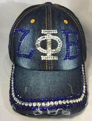 963d1d48 10pcs Diamond Point Sorority ZPB hat letters style Glass denim capst custom  baseball cap Hat rhinestone