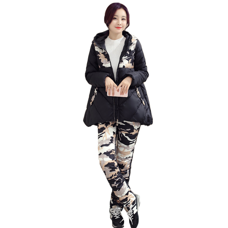ФОТО Fashion Winter Women Camouflage wadded Jackets Sets Loose Padded Coat and Pants Suits Parkas 2 pieces Jacket Coat Suit AA215