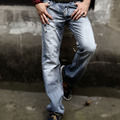 Male blue jeans back pocket trumpet embroidered loose big yards denim trousers tidedo537
