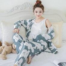 Купить с кэшбэком Floral 3 Pieces Maternity Clothes Maternity Sleepwear Breastfeeding Lounge Nursing Pajamas Pregnant Women Pajamas Cotton
