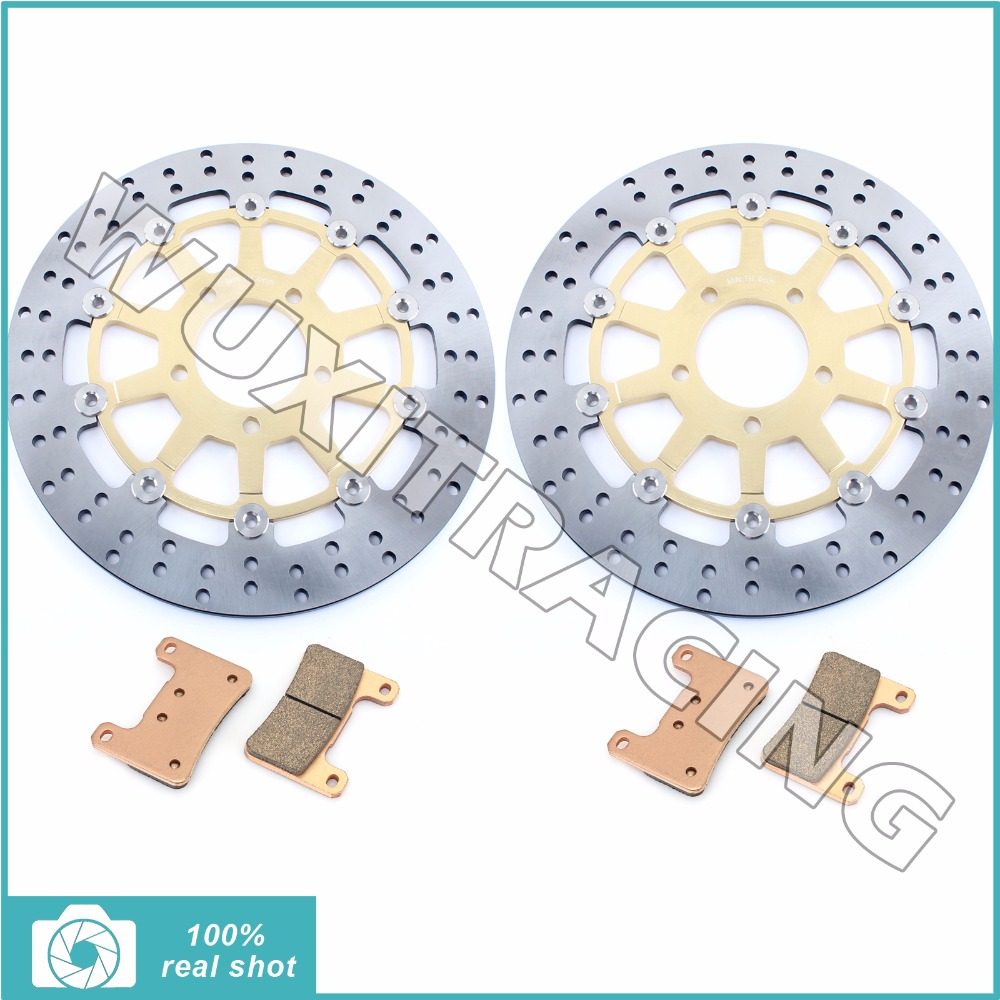 Gold / Black Round New Front Brake Discs Rotors +Brake Pads for SUZUKI GSXR 600 750 1000 GSXR600 GSXR750 GSXR1000 2004 2005 full set front rear brake discs disks rotors pads for suzuki gsxr 750 94 95 gsx r 1100 p r s t 1993 1994 1995 1996