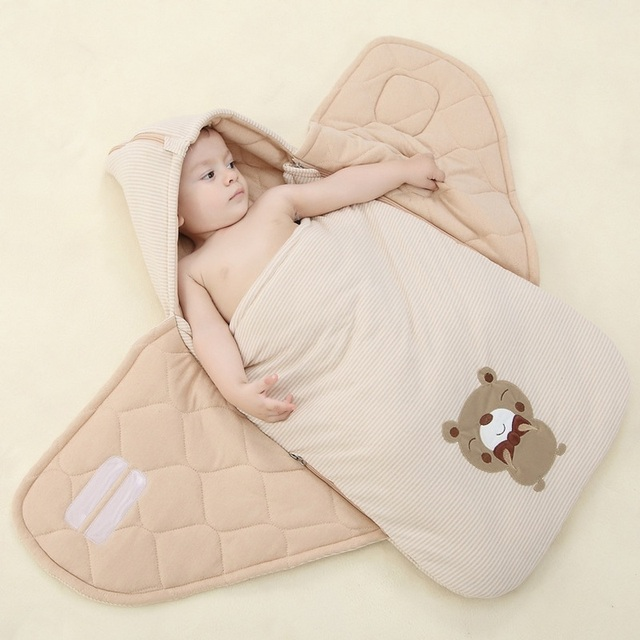 2016 Embroider Baby Sleeping Bag Winter Warm Striped Sleepsack Newborn Envelope Kids Cover for Pram Wheelchair Infant Stroller