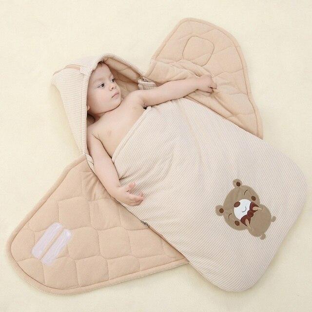2016 Embroider Baby Sleeping Bag Winter Warm Striped Sleepsack Newborn Envelope Kids Cover for Pram Wheelchair Infant Stroller