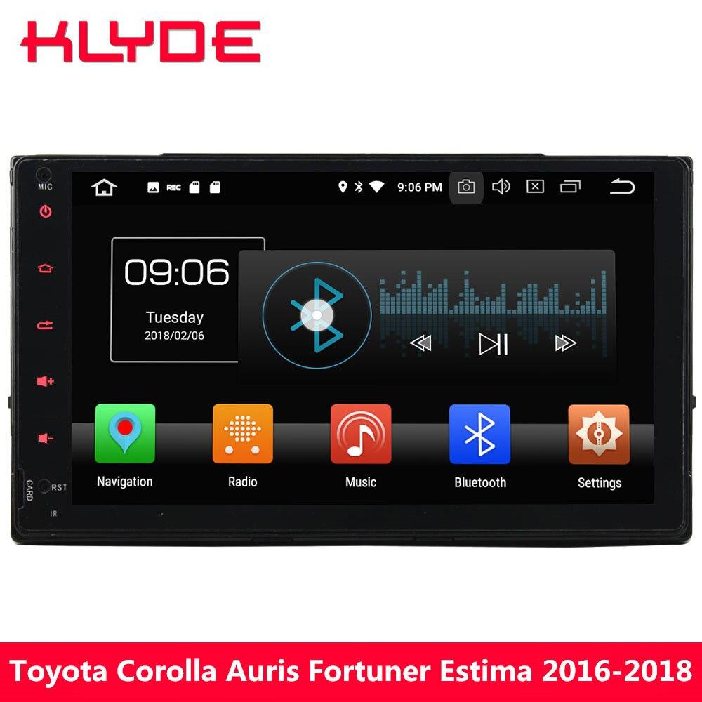 KLYDE 9 ips 4G Android 8 Восьмиядерный 4 Гб ОЗУ 32 Гб ПЗУ автомобильный dvd плеер стерео для Тойота торолла аурис Fortuner Vios 2016 2017 2018