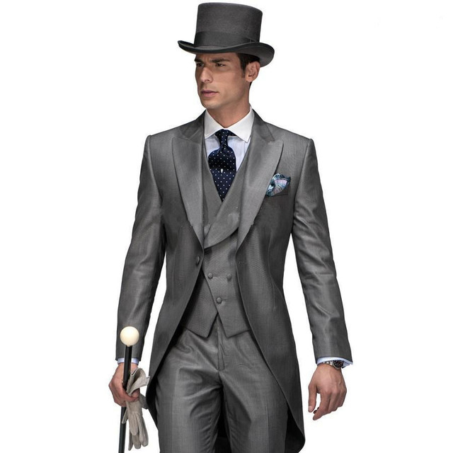 Gray Western Style Man Suits  Groomsmen  Tuxedos Peaked Lapel One Button Satin Wedding Suits For Man