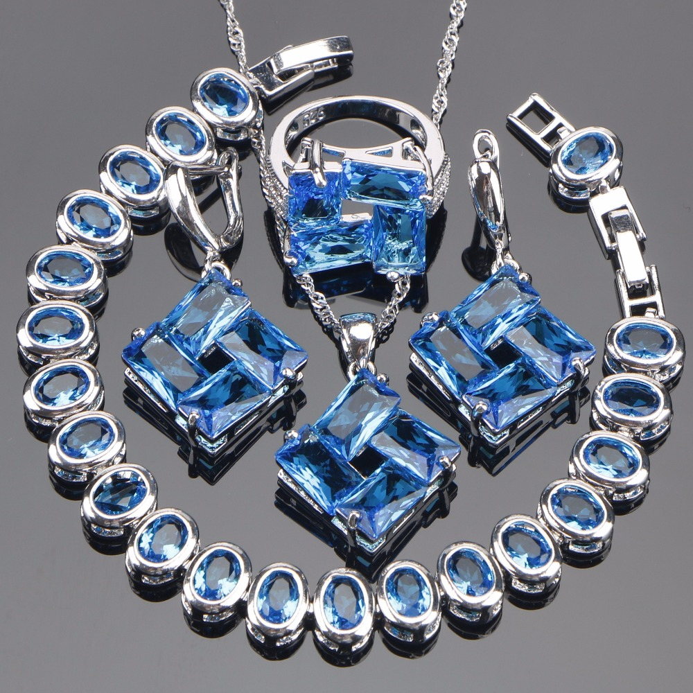 Bridal Jewelry Sets Blue Zirconia Earrings For Women Silver 925 Jewelry Wedding Bracelet Pendant Rings Necklace Set Gift Box viennois new blue crystal fashion rhinestone pendant earrings ring bracelet and long necklace sets for women jewelry sets