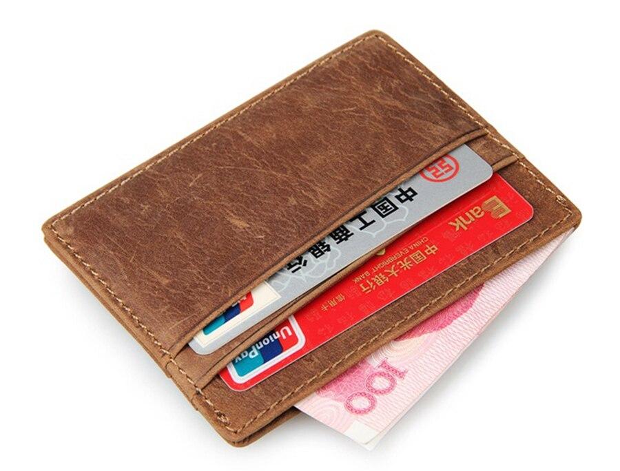 2017 portefeuille de voyage porte-carte vintage 100% en cuir véritable porte carte avant poche mince carte portefeuille porte-carte de crédit
