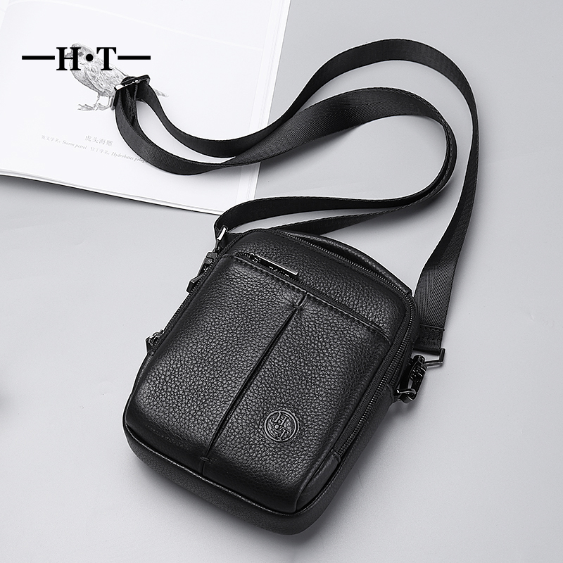 HT Genuine Leather Handbags Black Luxury Crossbody Shoulder Bags Mens Small Flap Messenger Bag Brand New