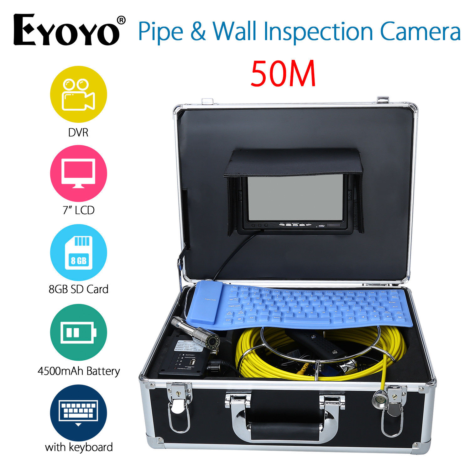 Eyoyo 50M 7 LCD HD 1000TVL Endoscope Snake Sewer Camera Pipe Wall Inspection Waterpoorf Cam DVR Recording w/Portable Keyboard eyoyo 7 lcd screen 20m 800 480 1000tvl 4500mah sewer drain camera pipe wall inspection endoscope w keyboard dvr recording 8gb