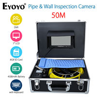 Eyoyo 50M 7 LCD HD 1000TVL Endoscope Snake Sewer Camera Pipe Wall Inspection Waterpoorf Cam DVR Recording w/Portable Keyboard