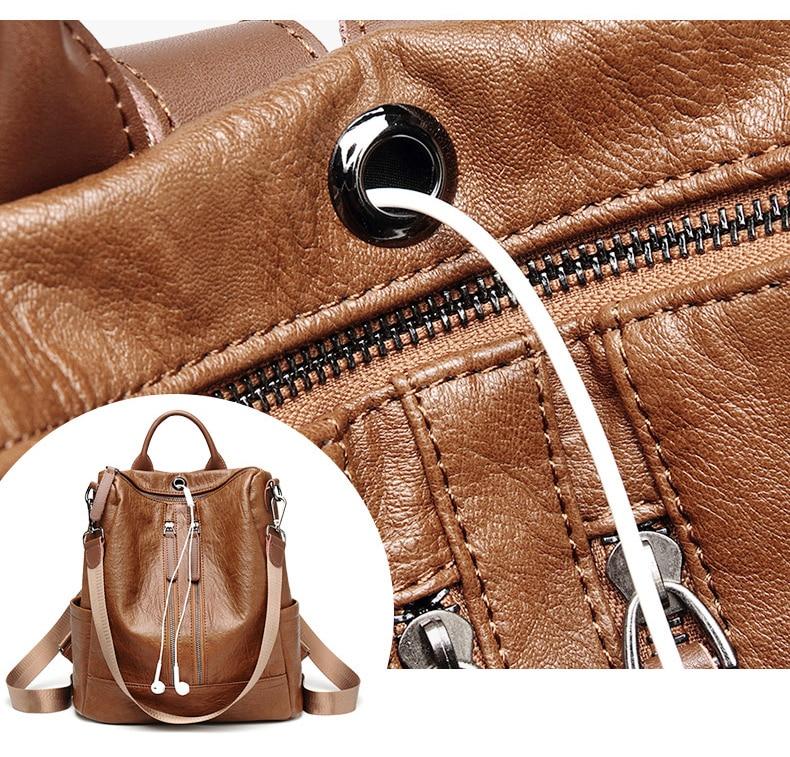 HTB1HAJEbvfsK1RjSszbq6AqBXXam Female backpack mochila feminina casual Multifunction Women Leather Backpack Female Shoulder Bag Sac A Dos Travel Back Pack