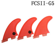 Surf Fins FCS2 G5 M Size Red Surfboard Honeycomb Tri fin set fcs Fibreglass