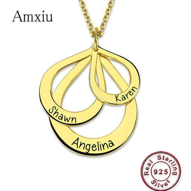Amxiu Custom 925 Sterling Silver Pendant Necklace Engrave Three Names Choker Necklace Jewelry For Women Mother