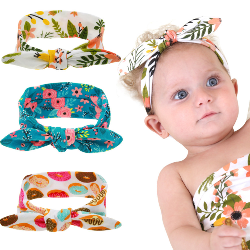 New 2019 Lovely Kids Headbands Hair Bands Newborn Hair Accessories Girls   Headwear   Print Cookies Flower Christmas Headband