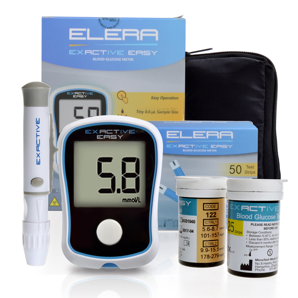 ELERA CE FDA Blood Glucose Meters Monitor Diabetics Test glycuresis Monitor 50 strips +50 Needles blood Sugar