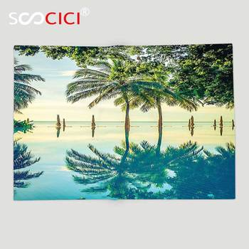 Custom Soft Fleece Throw Blanket House Decor Pool With Tree Silhouettes On The Surface No Filter Region Hot Spot Climate