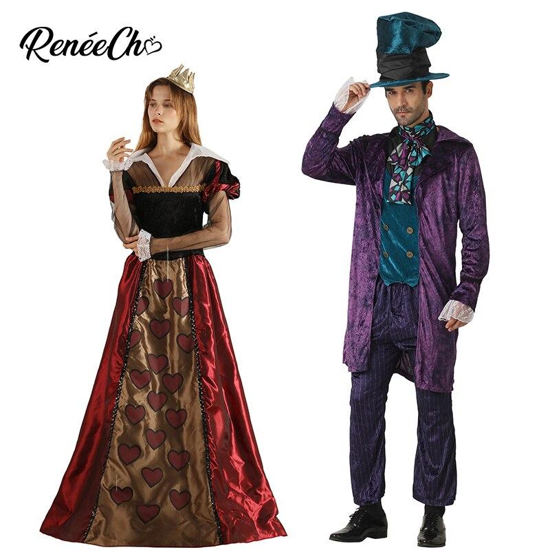 Halloween Costume For Adult Couple Cosplay Alice In Wonderland Men Prestige Mad Hatter Costume Women Queen Of Hearts Costume