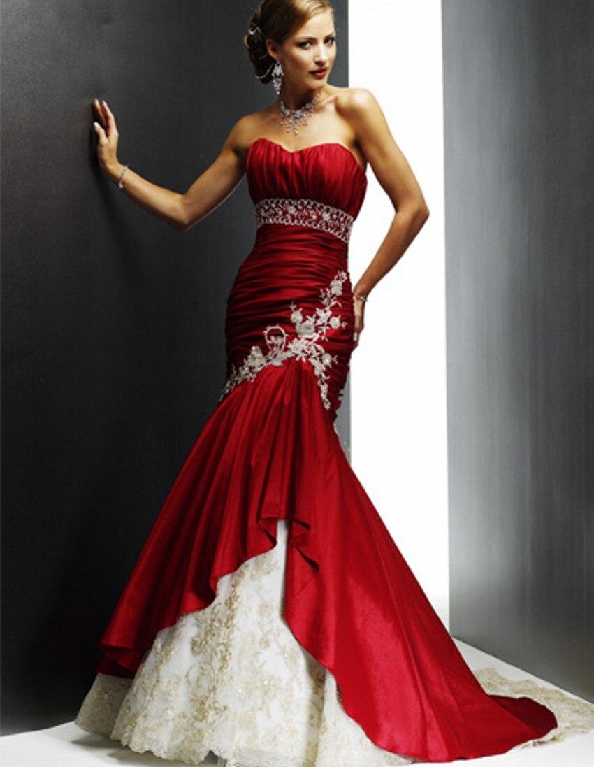 Mariée De Mariée Rouge Et Blanc Robes De Mariée Sirène Chine